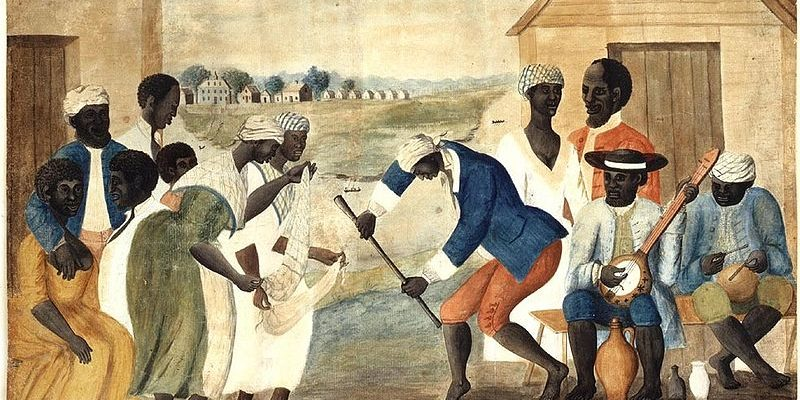 Folk painting of enslaved people dancing to banjo music